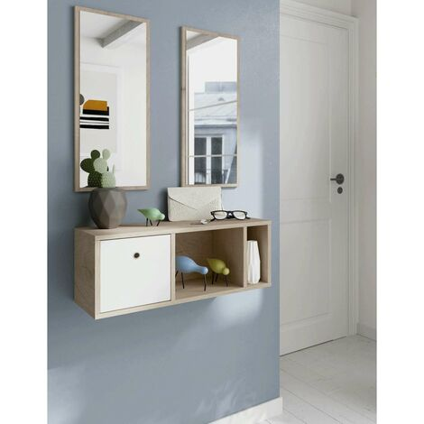 Mueble recibidor con dos espejos Nanda. Color Blanco/Aurora