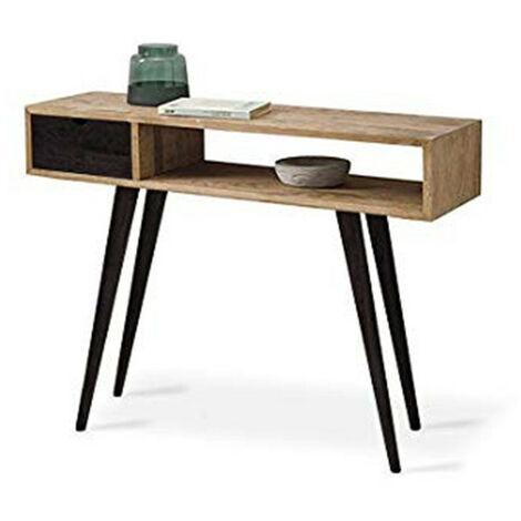 Mueble Recibidor-Entrada, Diseño Industrial-Vintage, Cajón, Estante y Patas, Acabado Madera Maciza color Natural y negra