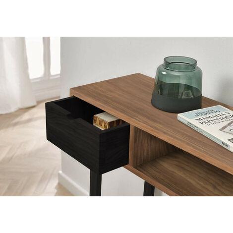 Mueble Recibidor-Entrada, Diseño Industrial-Vintage, Cajón Y Estante, Madera Maciza Natural, Patas Metálicas