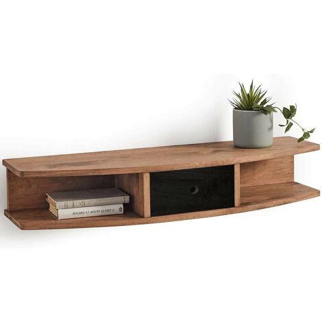 Mueble recibidor madera maciza natural con cajón, acabado encerado y negro. Medidas: Largo 100 cm x Ancho 30 cm x Alto 18 cm