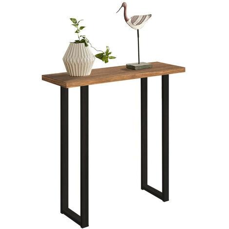 Mueble Recibidor madera maciza y patas met?licas, estilo industrial vintage. Medidas: 80 x 80 x 30 cm de fondo