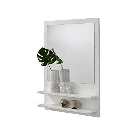 Mueble recibidor para entrada o pasillo con espejo y dos baldas. Color blanco.