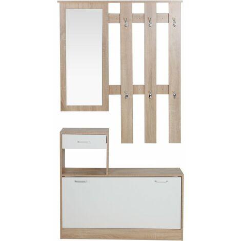 Mueble recibidor vestidor Kendra - Blanco/Roble