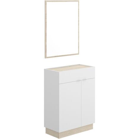 Mueble Recibidor zapatero + espejo, acabado Blanco y natural, medidas 88x63x33 cm de fondo