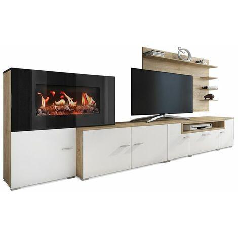 Mueble salón comedor con chimenea eléctrica con 5 niveles de llama