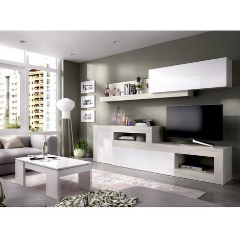 Mueble Salon Comedor estante Paris de 260 a 300cm gris blanco brillo
