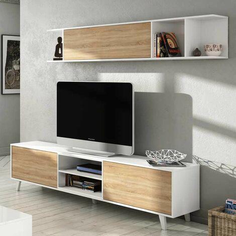 Mueble salón comedor estilo nórdico modular blanco brillo y roble 180x54x41 cm