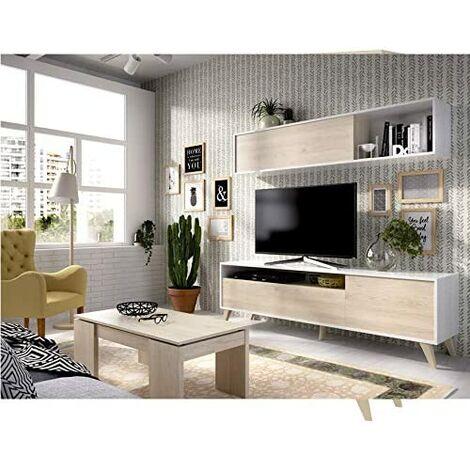 Mueble salon Comedor Nordik, medidas: Alto:180cm - Ancho:180cm (Blanco brillo y Natural)