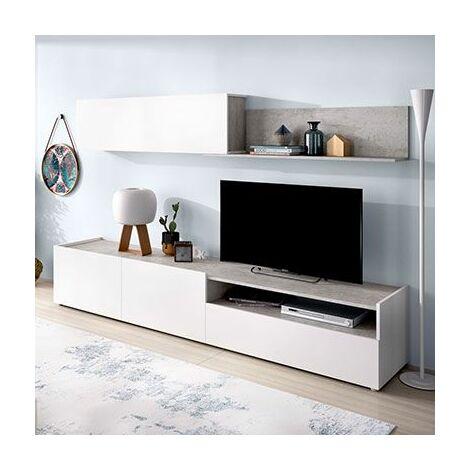 Mueble Salón Compacto color blanco y cemento modelo EDU