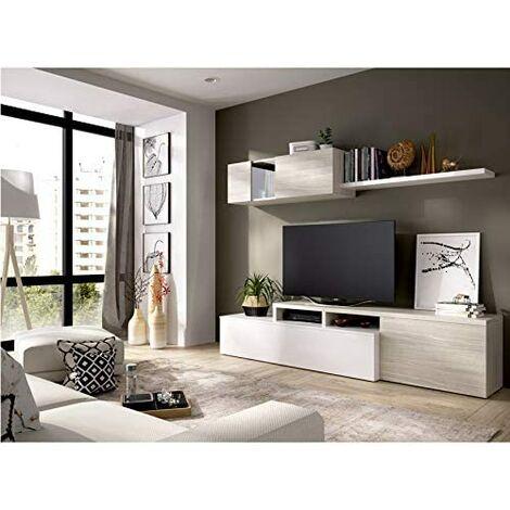 Mueble Salon moderno, medidas:Alto:180cm - Ancho:200cm - Fondo:41cm (Blanco Brillo y Gris)