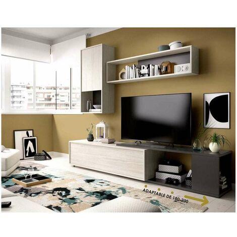 Mueble salón Obi flexible en diseño en blanco brillo o gris grafito