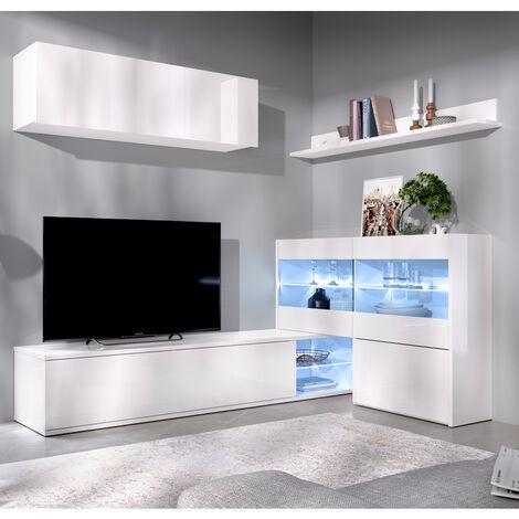 Mueble Salón Rincón TV de 201x130 cms. blanco brillo con luces leds modelo OLOT-2