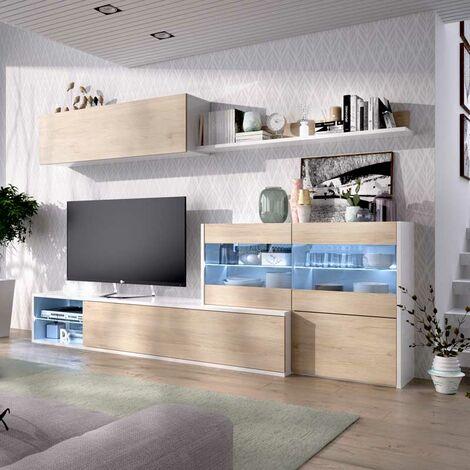 Mueble Salón Rincón TV de 201x130 cms. blanco brillo y frentes natural con luces leds modelo OLOT-2