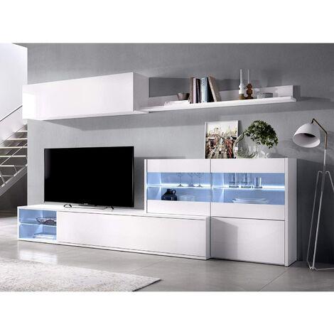 Mueble salón Rinconero Moderno con Leds, Acabado en Blanco Brillo Lacado, Medidas: 201x41 cm de Fondo