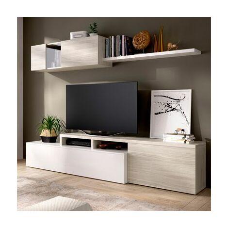 Mueble salón TV compacto en color Blanco brillo y Gris DUPLO