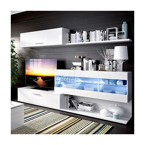 Mueble salón TV con luces LED en color Blanco brillo OLOT-3