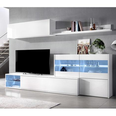 Mueble Salón TV de 260 cms. blanco brillo con luces leds modelo OLOT-2