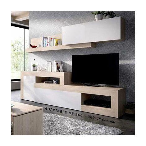 Mueble salón TV extensible en color Natural y Blanco brillo ALGARVE