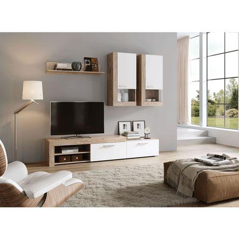 Mueble salon Tv Moderno Roble y Blanco Comedor ref-252