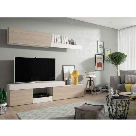 Mueble salon Tv Moderno Sable y Blanco Comedor ref-176