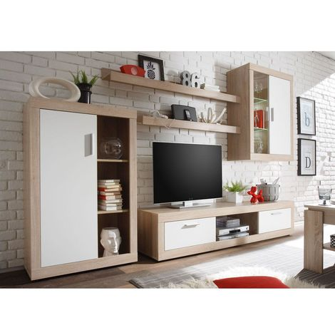 Mueble salon Tv Moderno Sonoma y Blanco Comedor ref-10