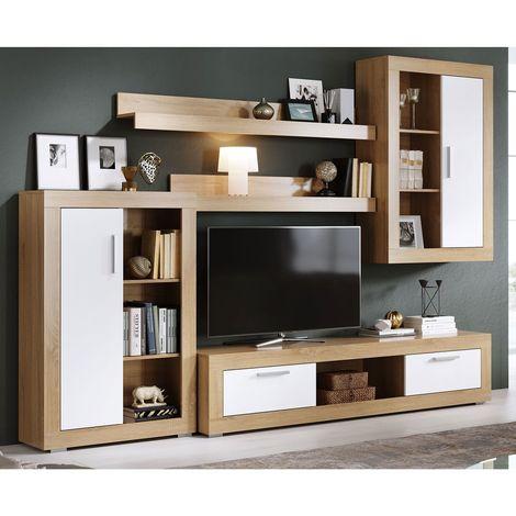 Mueble salon Tv Moderno, Sonoma y Blanco, con Expositor y Armario colgante,  Apilable Comedor ref-35