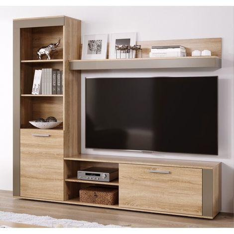 Mueble salon Tv Moderno Sonoma y Moka Comedor ref-01