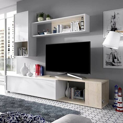 Mueble Salón TV Rincón de 180 x 130 cms. en color blanco y natural modelo TASS