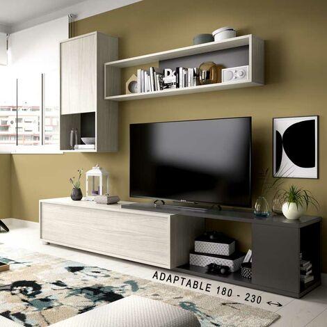Mueble Salón TV Rincón de 180 x 130 en color gris claro y grafito modelo TASS