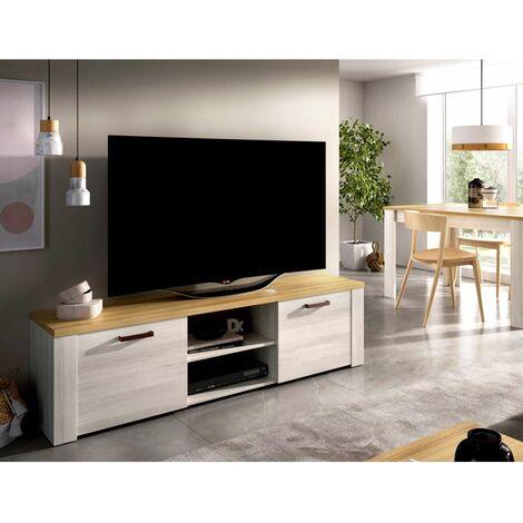 Mueble television Villanueva 2 puertas 1 estante en acabado blanco 49 cm(alto)180 cm(ancho)40 cm(largo) Color Fines/Milano
