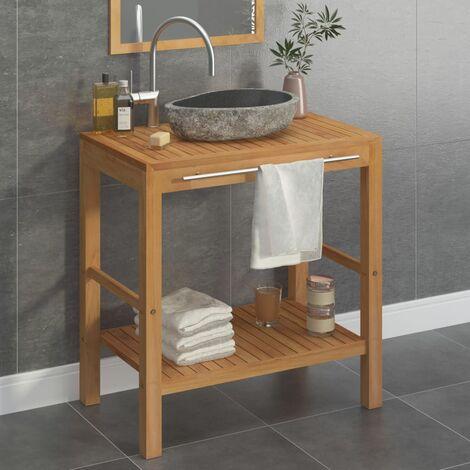 Mueble tocador madera teca maciza con lavabo de piedra de río - Marrón