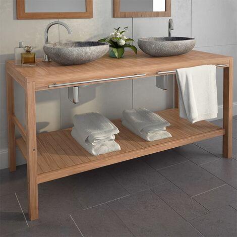 Mueble tocador madera teca maciza con lavabos de piedra de rio