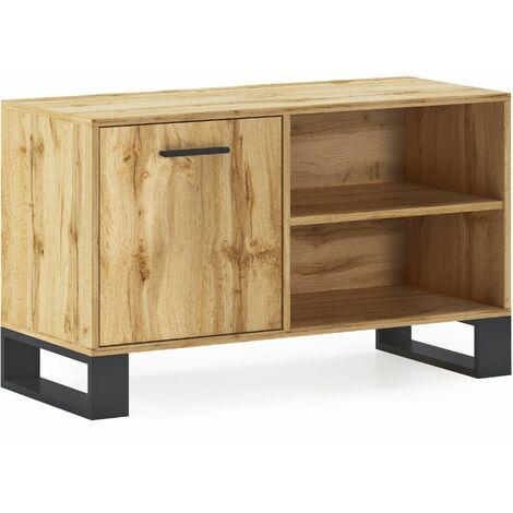 Mueble TV 100 con puerta izquierda, salón comedor, Modelo LOFT, color estructura y de la puerta en Roble Rústico, medidas 95x40x57cm de altura.