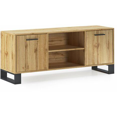 Mueble TV 140 con 2 puertas, salón comedor, Modelo LOFT, color estructura y puertas Roble Rústico, medidas 137x40x57cm de altura.