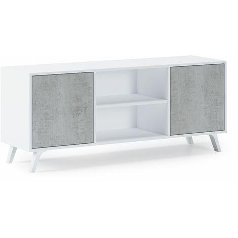 Mueble TV 140 con 2 puertas, salón comedor, Modelo WIND, color estructura BLANCO MATE, color puertas CEMENTO, medidas 137x40x57cm de altura.