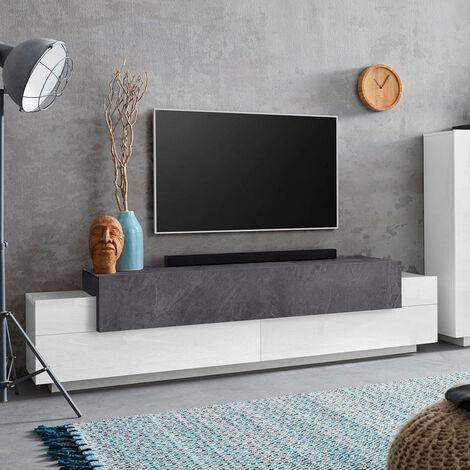 Mueble TV 4 estantes y 3 puertas abatibles 200 cm diseño moderno Corona Low Report