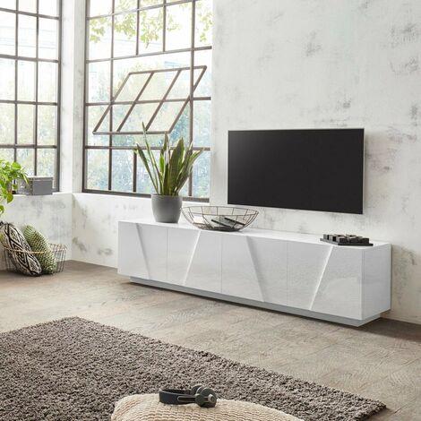Mueble TV 4 puertas 2 estantes de diseño moderno blanco Ping Low L