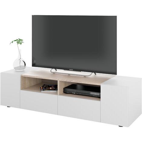 Mueble TV 4 puertas Blanco Artik y Roble Canadian 138x36x42