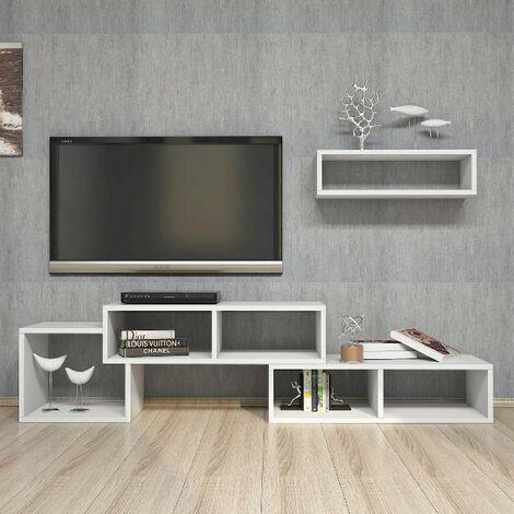 Mueble TV Armonia - con Puertas, Estante, Compartimientos para Salon - Blanco, in Aglomerado Melaminico, PVC, 170x29,5x41,8 cm, Self 60x22x17 cm