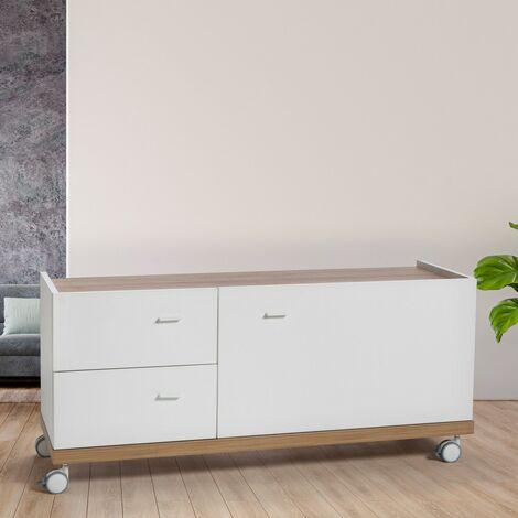 Mueble TV Blanco Con Ruedas De Madera Con Cajones Y Puertas Diseño Moderno