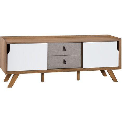 Mueble TV blanco/madera clara ACTON