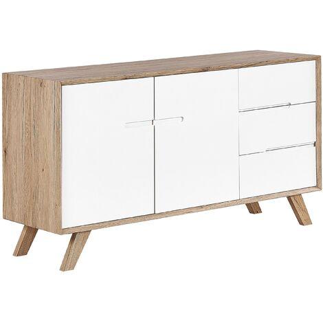Mueble TV blanco/madera clara FORESTER