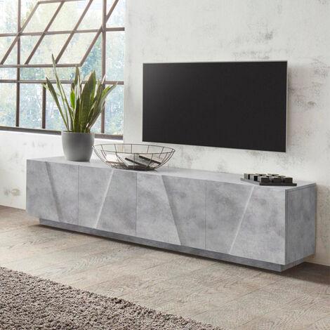Mueble TV con 4 puertas y 2 estantes diseño moderno Ping Low L Concrete