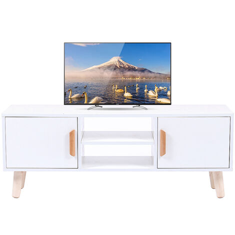 Mueble TV con cajón,Mesa de salón Soporte para TV, Mesa de Café para Dormitorio Sala de Estar 110x30x42cm Blanco