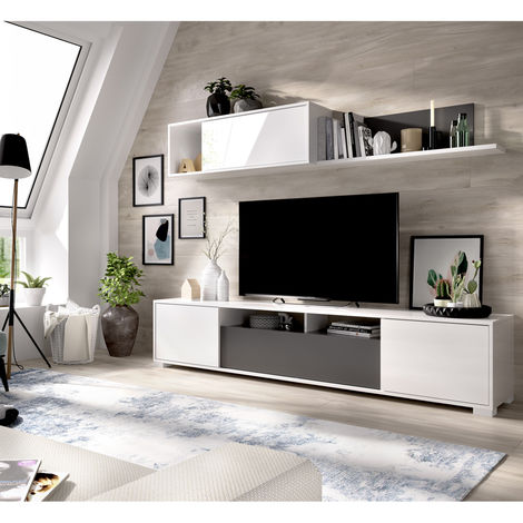 Mueble Tv con puertas y estante a pared, dimensiones 180x200x41 cm