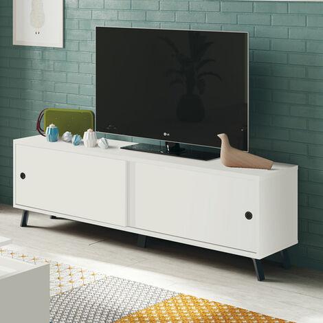 Mueble TV de 160 cm, blanco con puertas correderas modelo KAMEL