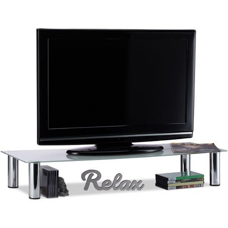 Mueble TV de Cristal, Mesa Televisión, Vidrio y Metal, 100 x 35 x 17 cm, Blanco y Plateado
