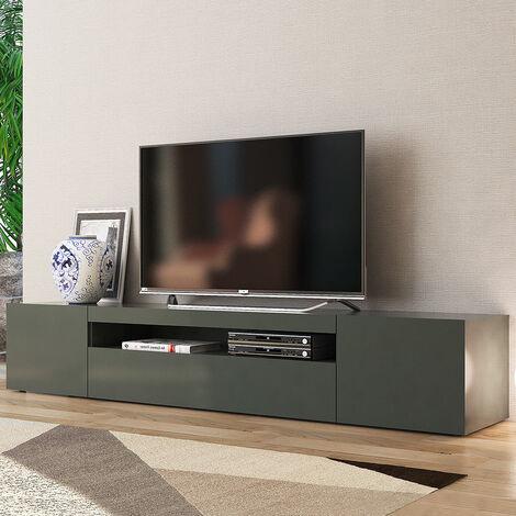 Mueble TV de diseño con puertas abatibles de cajón 200cm Daiquiri Anthracite L