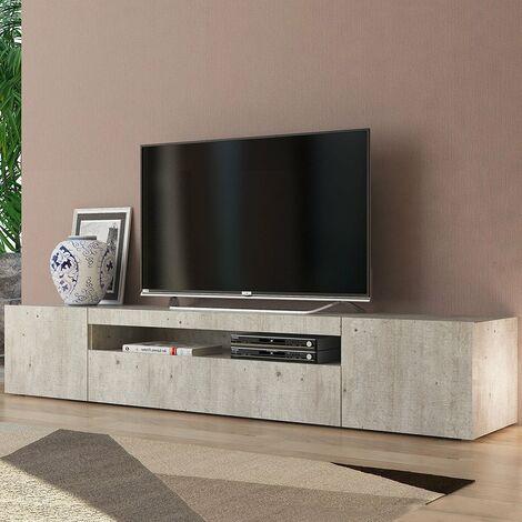 Mueble TV de diseño con puertas abatibles de cajón 200cm salón Daiquiri Anthracite L