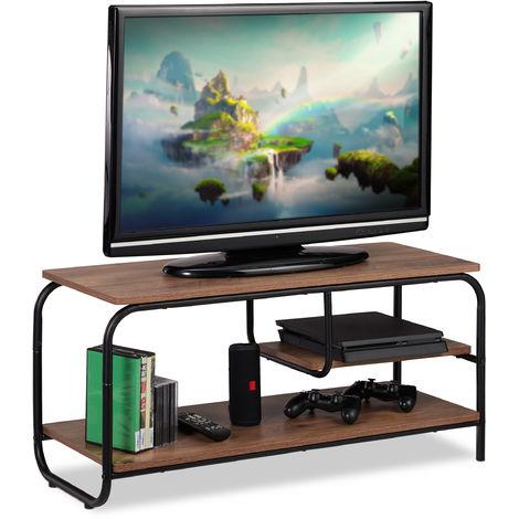 Mueble TV de Diseño Industrial, Mesa Televisión, Tablero de Partículas y Metal, Marrón-Negro, 43 x 90 x 35 cm